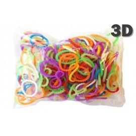 300 élastiques PERLÉS 3D - Recharge loom