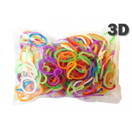 600 élastiques PERLÉS 3D - Recharge loom