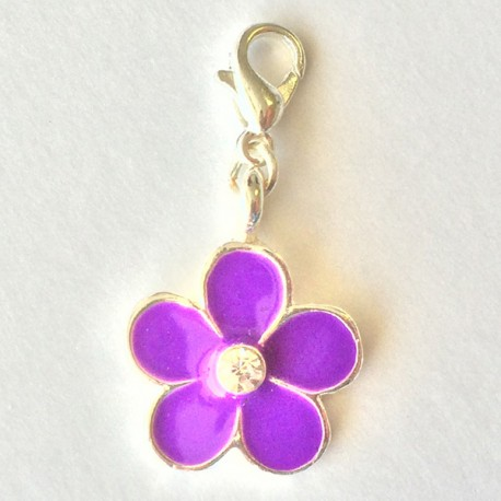 Fleur violette pendentif Creastic Bracelet