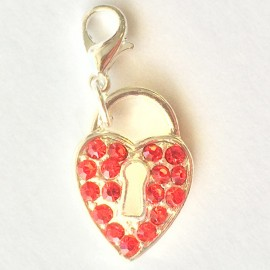 Ruby heart Charm Creastic Bracelet