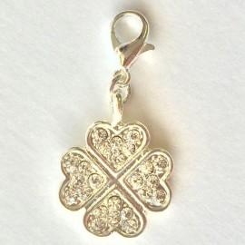 Fleur trèfle diamant pendentif Creastic Bracelet