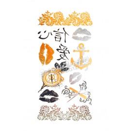 Tatouage temporaire Argent-Or - Lèvres, écritures chinoise