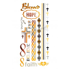Metal temporary tattoo - Cross and Hope