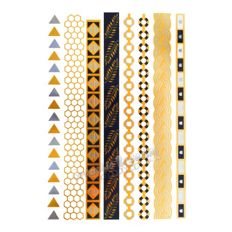 Tatouage temporaire Argent-Or - Bandeaux, bracelets
