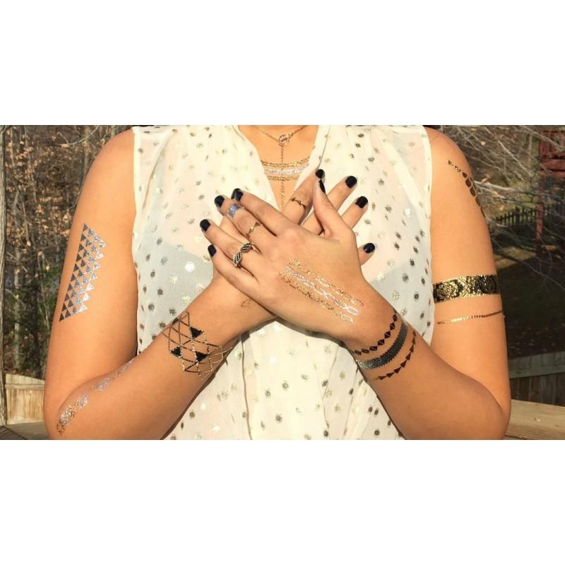 Tatouage temporaire Argent,Or , Bandeaux, bracelets