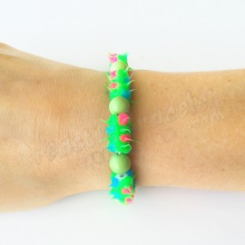 Spike Stretch Bracelet - Green and green bead