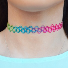 Multicolor necklace choker
