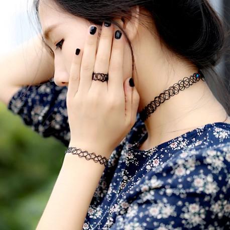 Ensemble Bague, bracelet, collier noir Chokers