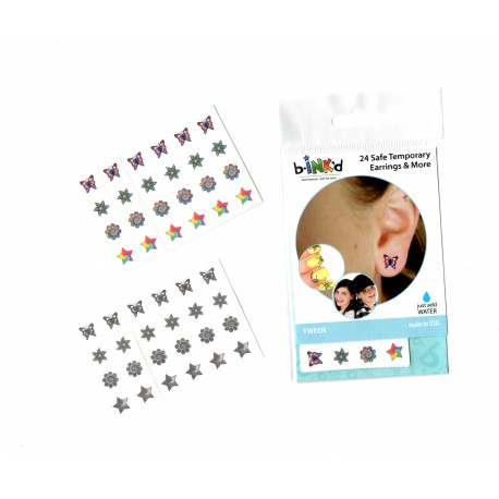 24 Mini Tattoos Papillons-Fleurs-Etoiles
